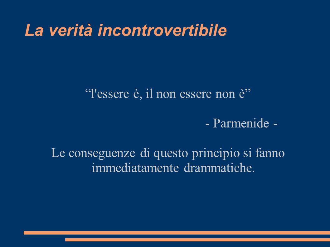 La verità incontrovertibile l'essere è, il non essere non è - Parmenide - Le conseguenze di questo principio si fanno immediatamente drammatiche.