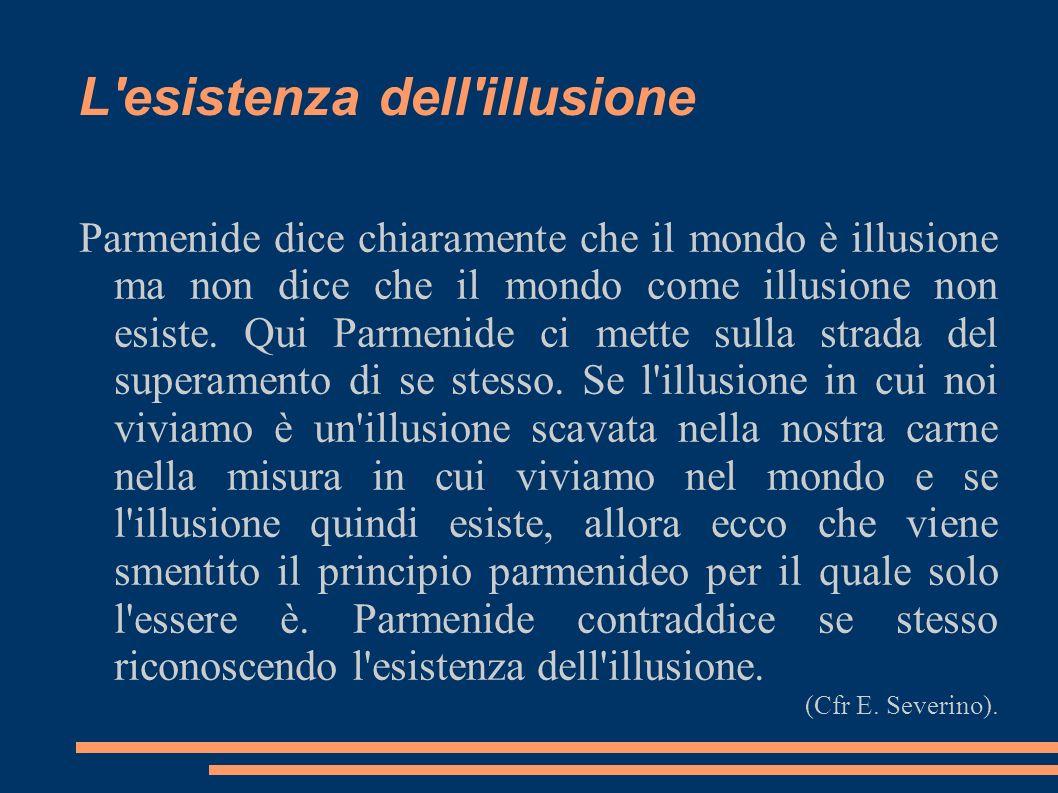 L'esistenza dell'illusione Parmenide dice chiaramente che il mondo è illusione ma non dice che il mondo come illusione non esiste. Qui Parmenide ci me