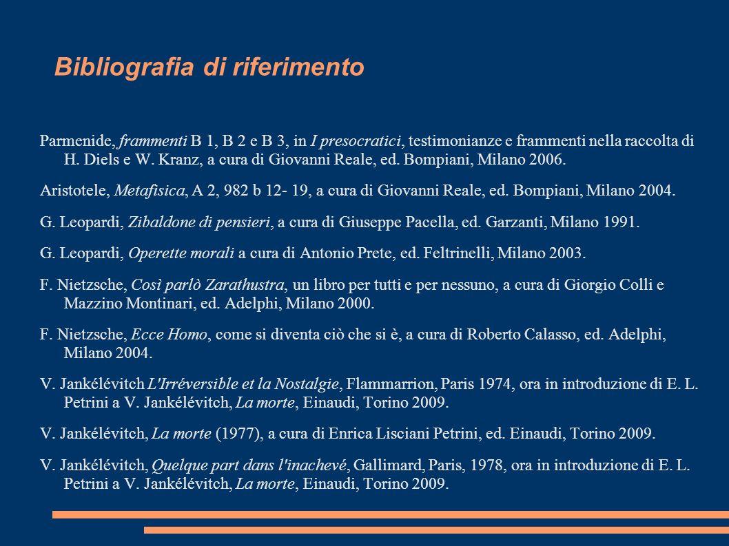 Bibliografia di riferimento Parmenide, frammenti B 1, B 2 e B 3, in I presocratici, testimonianze e frammenti nella raccolta di H. Diels e W. Kranz, a