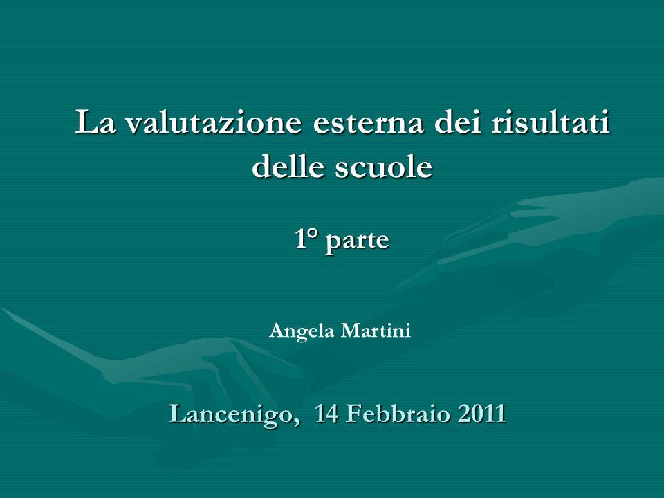 Lancenigo, 14 Febbraio 2011 La valutazione esterna dei risultati delle scuole 1° parte Angela Martini