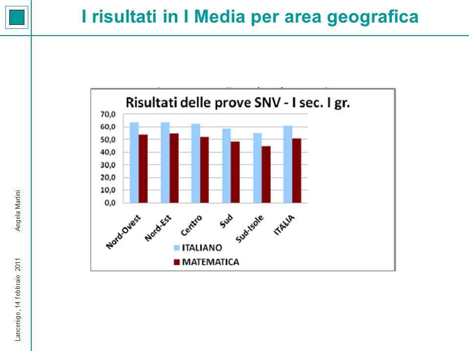 I risultati in I Media per area geografica Lancenigo, 14 febbraio 2011 Angela Martini