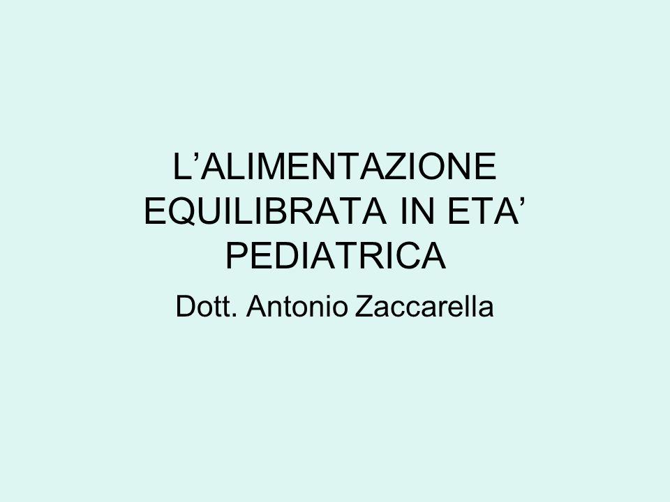 LALIMENTAZIONE EQUILIBRATA IN ETA PEDIATRICA Dott. Antonio Zaccarella