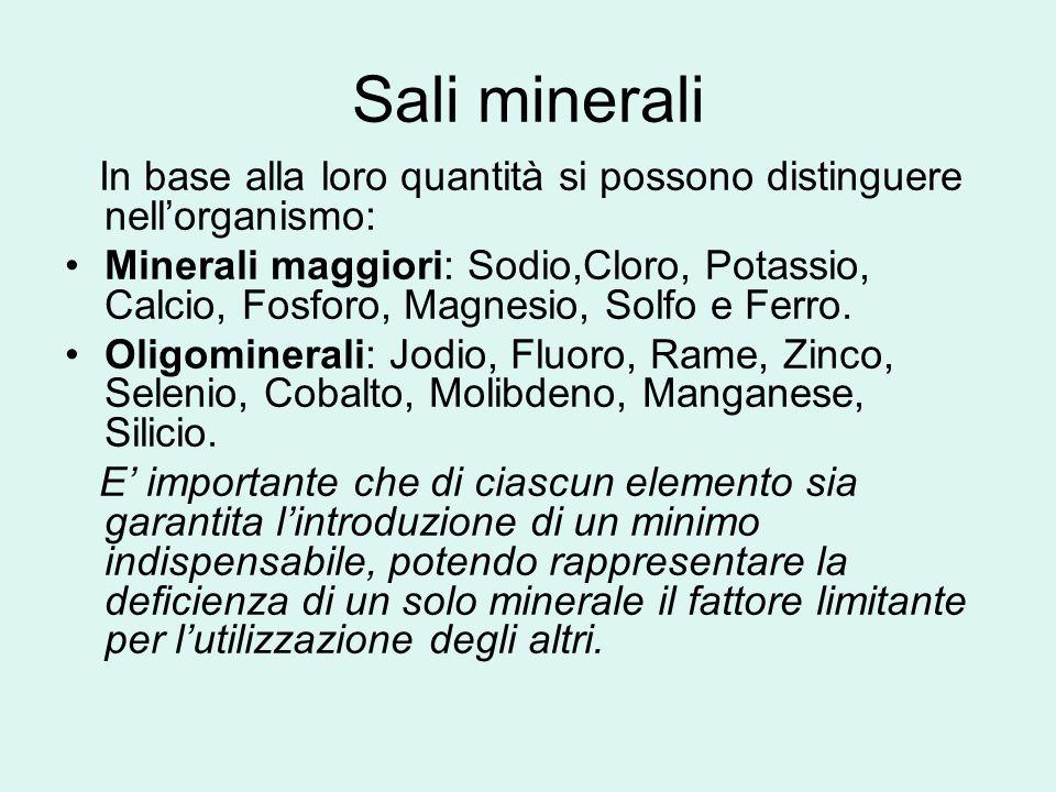 Sali minerali In base alla loro quantità si possono distinguere nellorganismo: Minerali maggiori: Sodio,Cloro, Potassio, Calcio, Fosforo, Magnesio, So