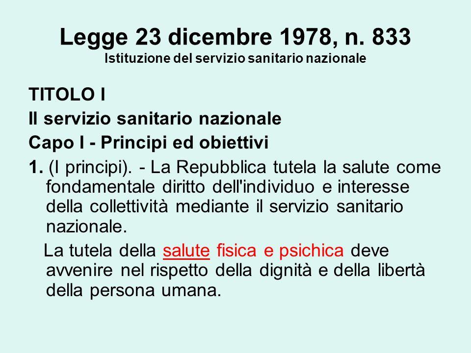 Legge 23 dicembre 1978, n. 833 Istituzione del servizio sanitario nazionale TITOLO I Il servizio sanitario nazionale Capo I - Principi ed obiettivi 1.