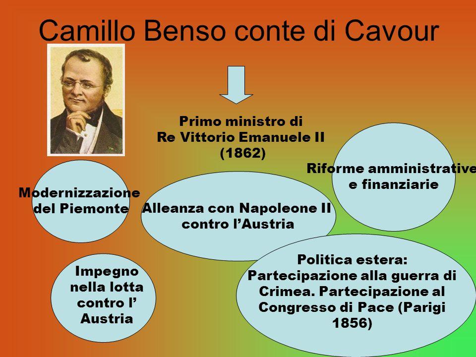 Camillo Benso conte di Cavour Primo ministro di Re Vittorio Emanuele II (1862) Modernizzazione del Piemonte Alleanza con Napoleone II contro lAustria Riforme amministrative e finanziarie Impegno nella lotta contro l Austria Politica estera: Partecipazione alla guerra di Crimea.