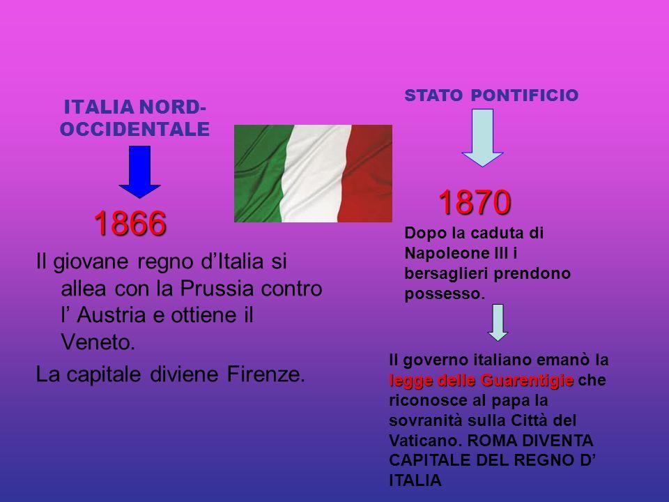 ITALIA NORD- OCCIDENTALE 1866 1866 Il giovane regno dItalia si allea con la Prussia contro l Austria e ottiene il Veneto.
