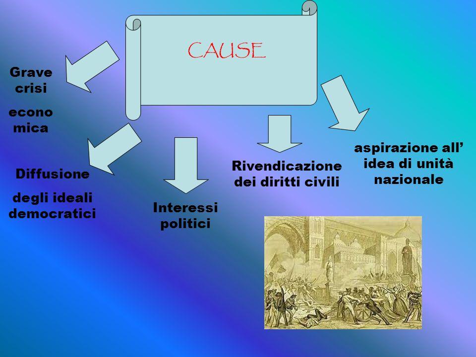 CAUSE Grave crisi econo mica Diffusione degli ideali democratici Rivendicazione dei diritti civili Interessi politici aspirazione all idea di unità nazionale