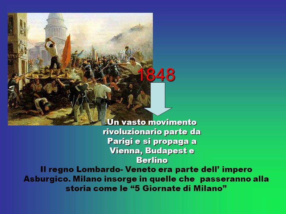 Un vasto movimento rivoluzionario parte da Parigi e si propaga a Vienna, Budapest e Berlino Il regno Lombardo- Veneto era parte dell impero Asburgico.