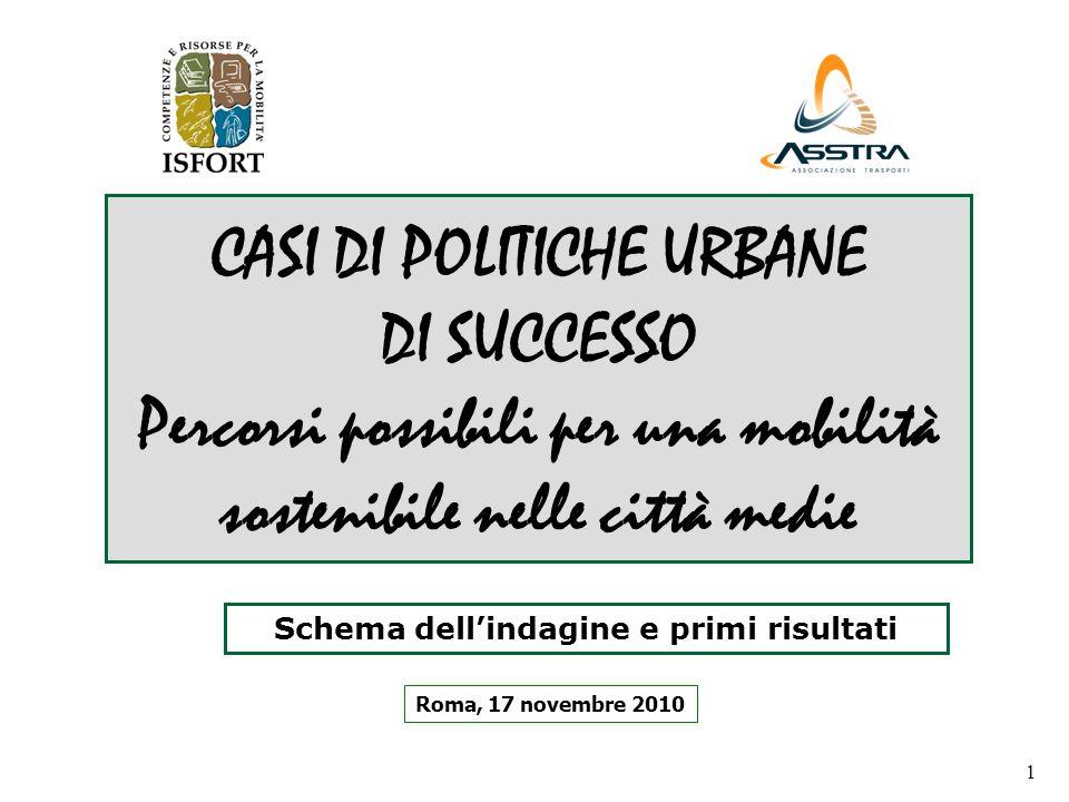 1 CASI DI POLITICHE URBANE DI SUCCESSO Percorsi possibili per una mobilità sostenibile nelle città medie Roma, 17 novembre 2010 Schema dellindagine e