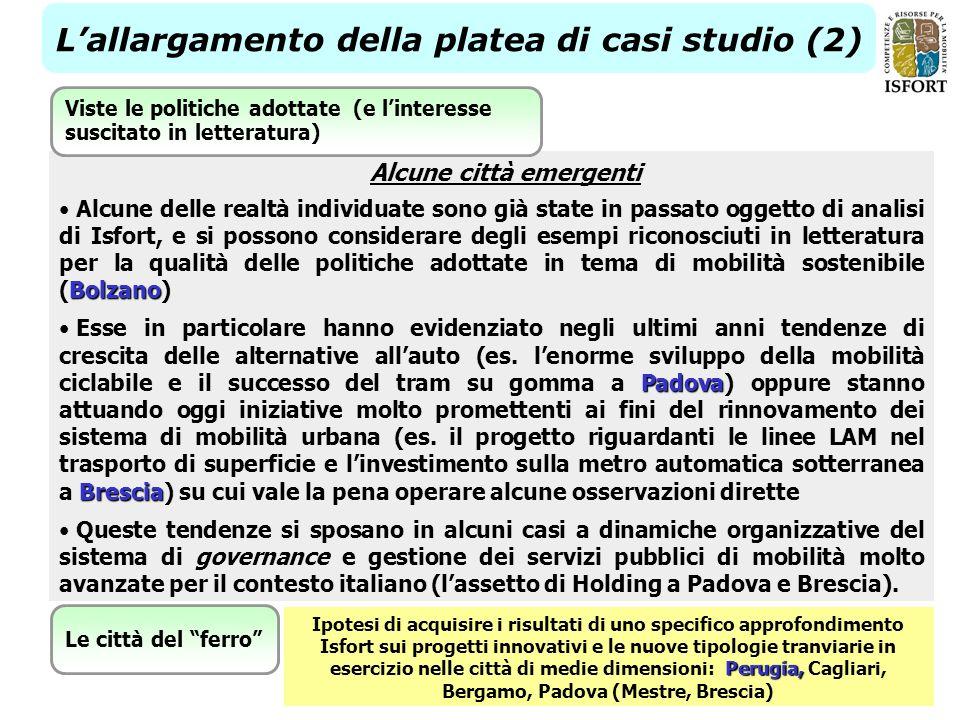 22 Lallargamento della platea di casi studio (2) Bolzano Alcune delle realtà individuate sono già state in passato oggetto di analisi di Isfort, e si