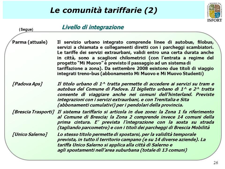 26 Le comunità tariffarie (2) Parma (attuale)Il servizio urbano integrato comprende linee di autobus, filobus, servizi a chiamata e collegamenti diret