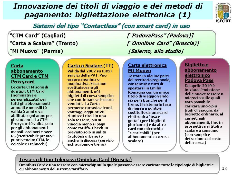28 Innovazione dei titoli di viaggio e dei metodi di pagamento: bigliettazione elettronica (1) CTM Card (Cagliari) [PadovaPass (Padova)] Carta a Scala