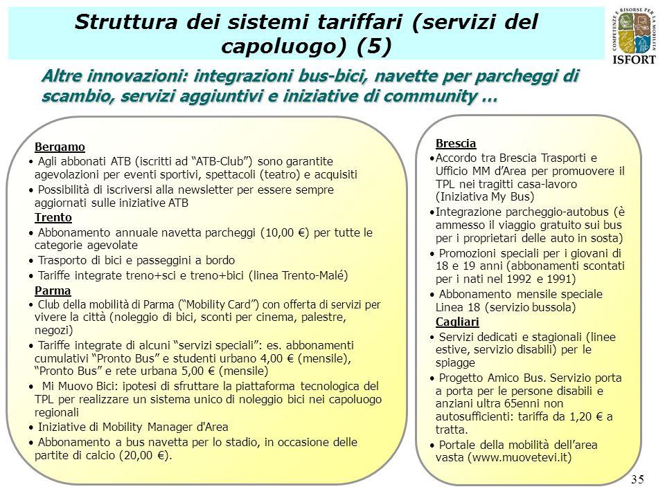 35 Struttura dei sistemi tariffari (servizi del capoluogo) (5) Bergamo Agli abbonati ATB (iscritti ad ATB-Club) sono garantite agevolazioni per eventi