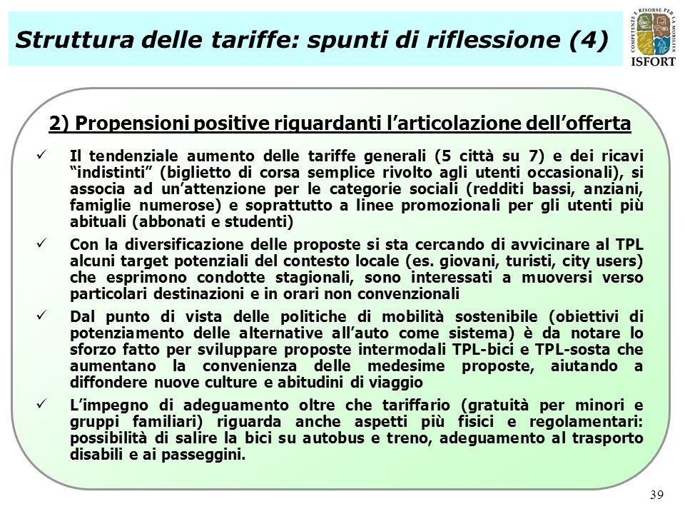 39 2) Propensioni positive riguardanti larticolazione dellofferta Il tendenziale aumento delle tariffe generali (5 città su 7) e dei ricavi indistinti