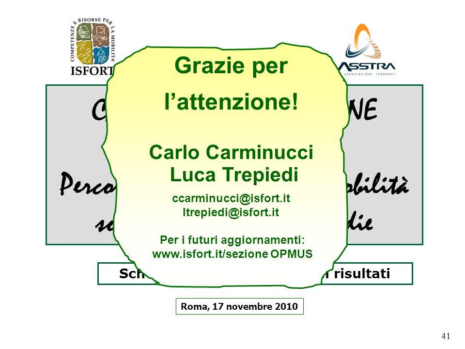 41 CASI DI POLITICHE URBANE DI SUCCESSO Percorsi possibili per una mobilità sostenibile nelle città medie Roma, 17 novembre 2010 Schema dellindagine e