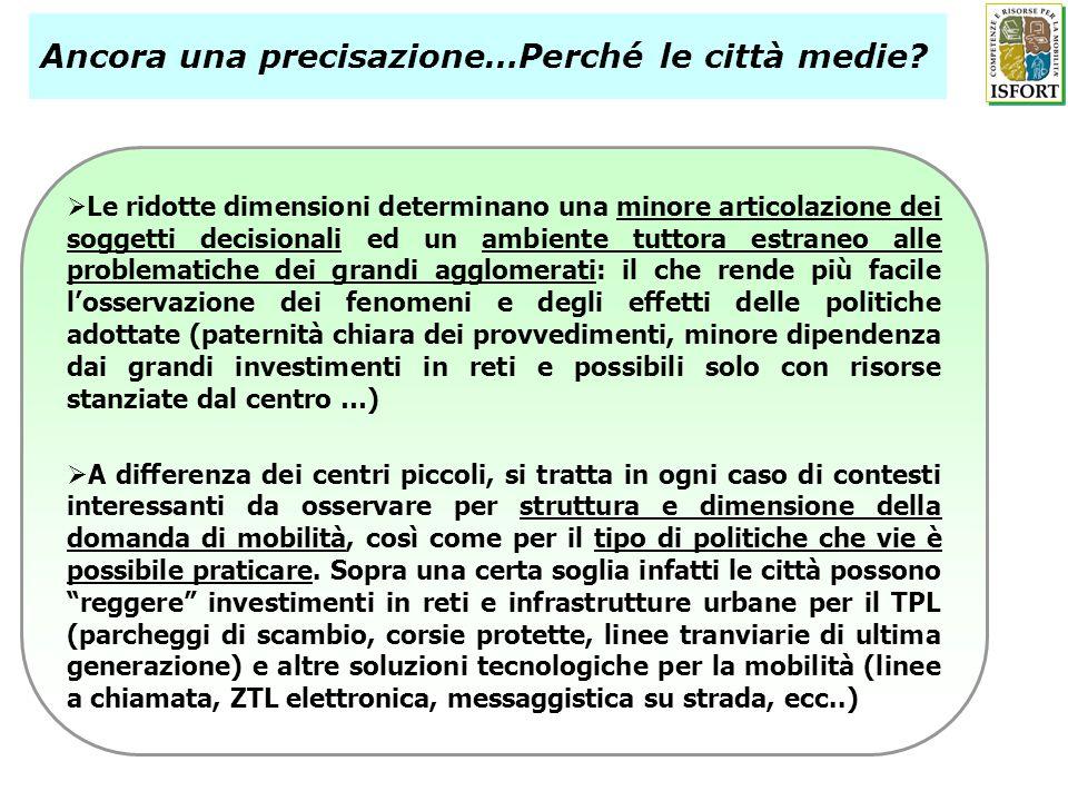 6 Il punto di vista delle aziende (fase 1) (quella attuale!) Ulteriori approfondimenti: il parere di enti locali, stake-holders, associazioni di consumatori, esperti locali (fase 2) (in corso) Dal TPL alla mobilità sostenibile (fase 2) (in programma per inizio 2011) Le fasi della ricerca (2009-2011) I criteri di selezione delle realtà di eccellenza per il TPL Indicatori oggettivi (ISTAT - Osservatorio ambientale sulle città) Tendenze registrate (2000-2008) nei comuni medi in termini di: Crescita dei passeggeri trasportati sui mezzi pubblici Incremento dellofferta Altre politiche di sviluppo e innovazione (integrazioni modali, misure di mobilità sostenibile e restrizioni alluso dellauto) I casi di studio individuati 4 città sopra tutte: Bergamo, Cagliari, Trento e Parma Altre realtà interessanti, eventualmente da integrare in successive analisi: Brescia, Bolzano, Padova, Pescara ….