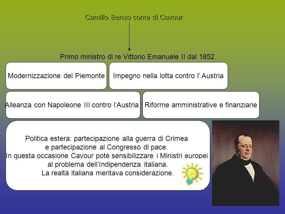 Camillo Benso conte di Cavour Camillo Benso conte di Cavour. Primo ministro di re Vittorio Emanuele II dal 1852. Modernizzazione del PiemonteImpegno n