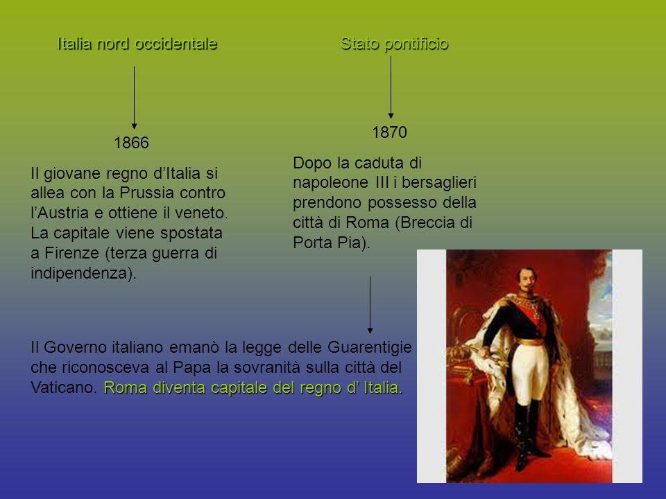 Italia nord occidentale 1866 Il giovane regno dItalia si allea con la Prussia contro lAustria e ottiene il veneto. La capitale viene spostata a Firenz