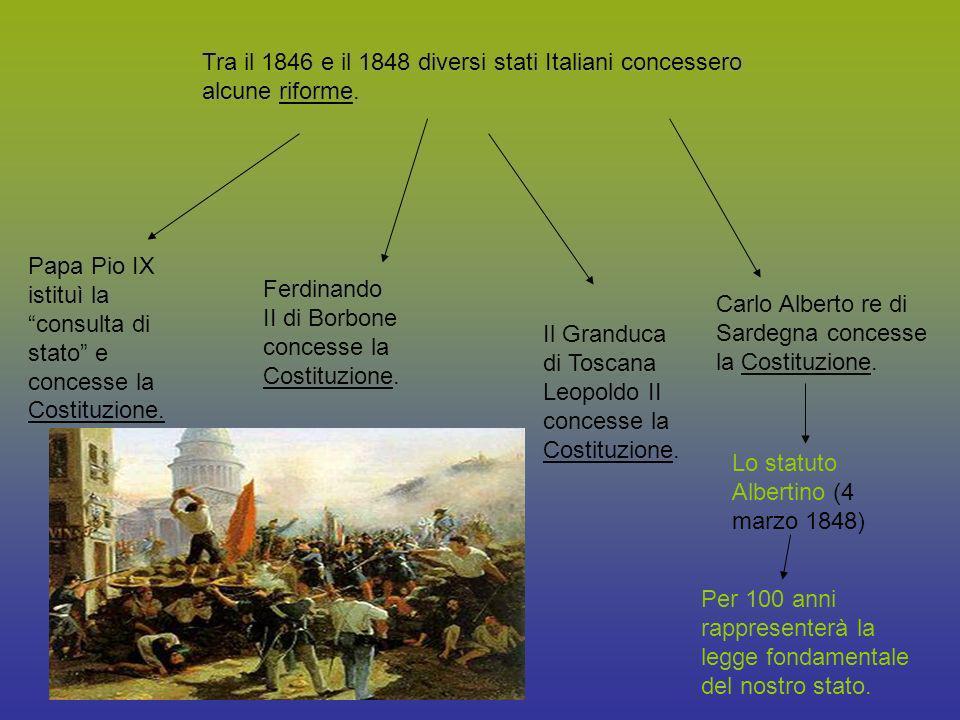 Tra il 1846 e il 1848 diversi stati Italiani concessero alcune riforme. Papa Pio IX istituì la consulta di stato e concesse la Costituzione. Ferdinand