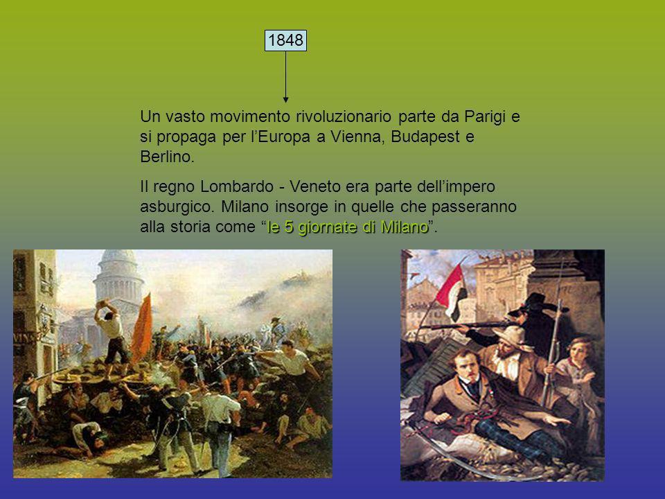 1848 Un vasto movimento rivoluzionario parte da Parigi e si propaga per lEuropa a Vienna, Budapest e Berlino. le 5 giornate di Milano Il regno Lombard