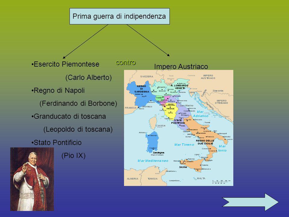 Prima Prima guerra di indipendenza contro Esercito Piemontese (Carlo Alberto) Regno di Napoli (Ferdinando di Borbone) Granducato di toscana (Leopoldo