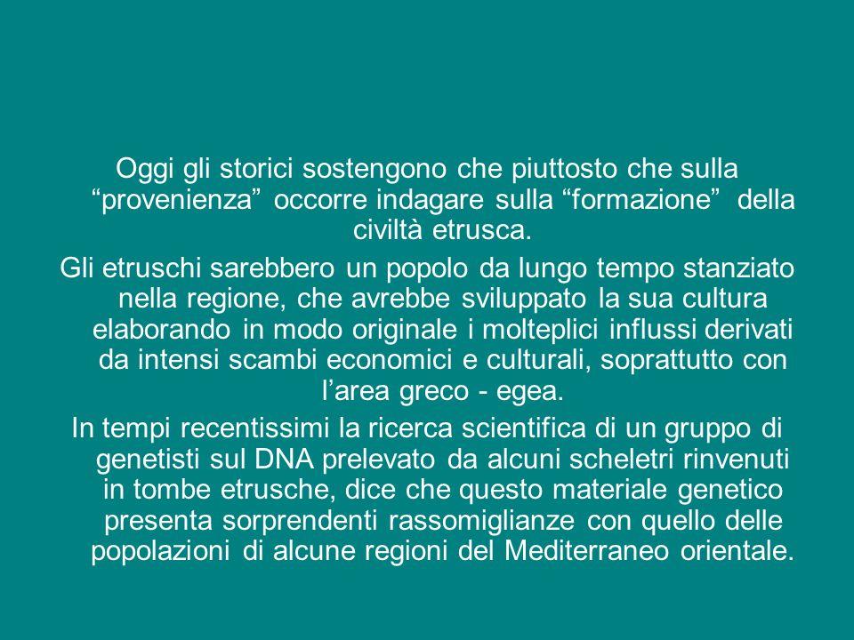 Oggi gli storici sostengono che piuttosto che sulla provenienza occorre indagare sulla formazione della civiltà etrusca. Gli etruschi sarebbero un pop