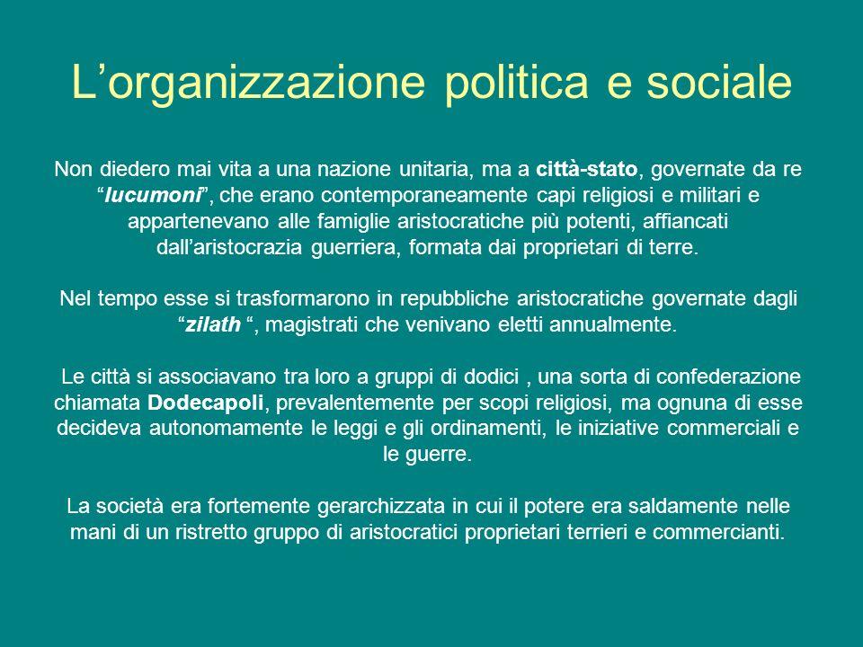 Lorganizzazione politica e sociale Non diedero mai vita a una nazione unitaria, ma a città-stato, governate da relucumoni, che erano contemporaneament