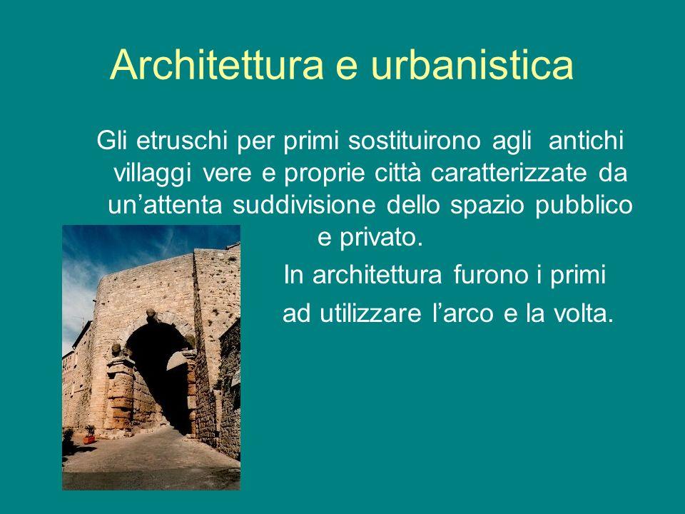 Architettura e urbanistica Gli etruschi per primi sostituirono agli antichi villaggi vere e proprie città caratterizzate da unattenta suddivisione del