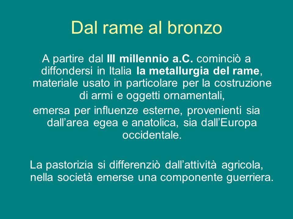 Dal rame al bronzo A partire dal III millennio a.C. cominciò a diffondersi in Italia la metallurgia del rame, materiale usato in particolare per la co