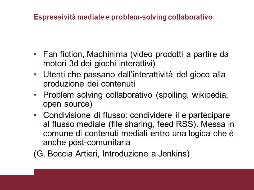 Espressività mediale e problem-solving collaborativo Fan fiction, Machinima (video prodotti a partire da motori 3d dei giochi interattivi) Utenti che