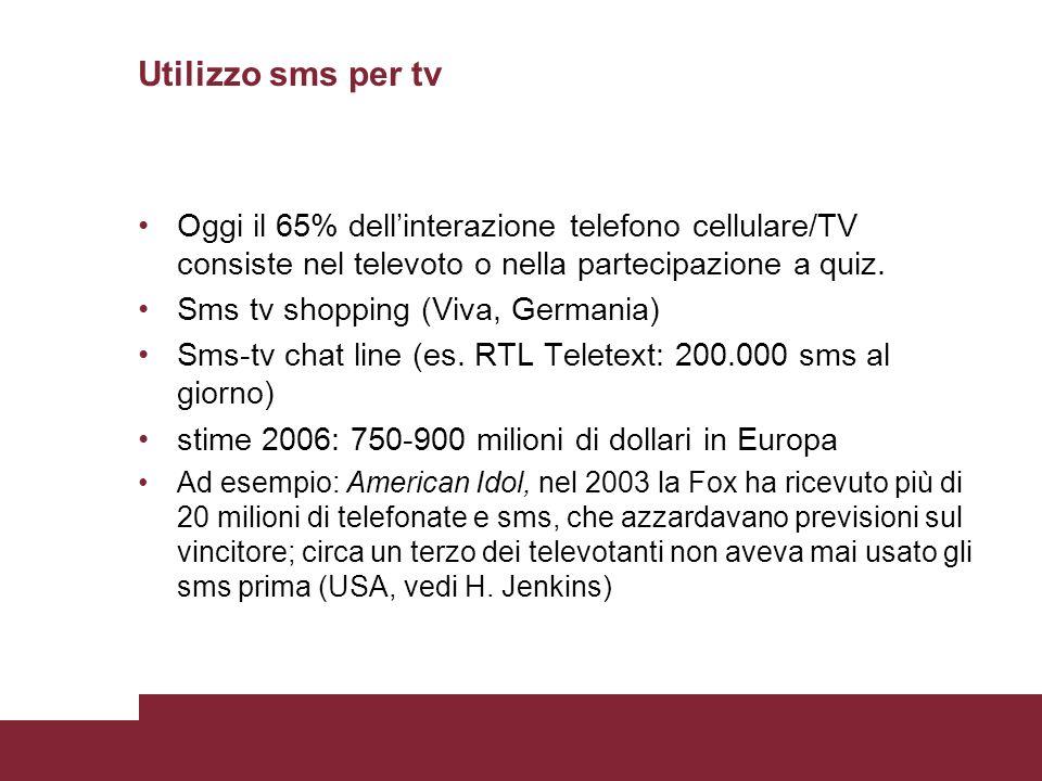 Utilizzo sms per tv Oggi il 65% dellinterazione telefono cellulare/TV consiste nel televoto o nella partecipazione a quiz. Sms tv shopping (Viva, Germ