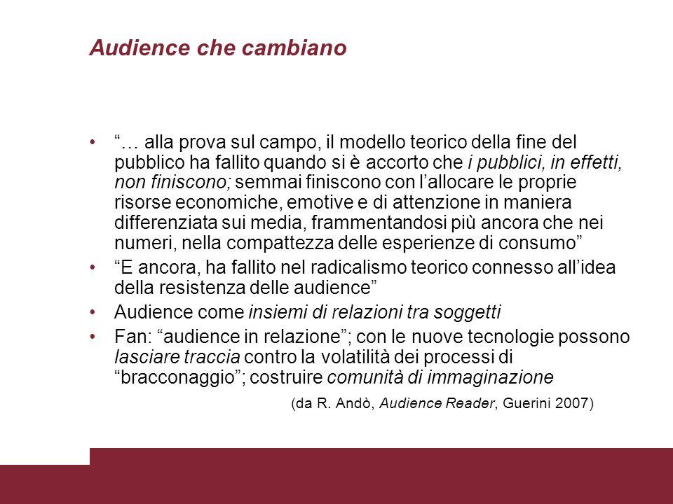 Audience che cambiano … alla prova sul campo, il modello teorico della fine del pubblico ha fallito quando si è accorto che i pubblici, in effetti, no