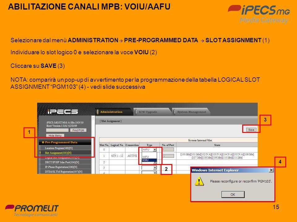 15 ABILITAZIONE CANALI MPB: VOIU/AAFU Selezionare dal menù ADMINISTRATION PRE-PROGRAMMED DATA SLOT ASSIGNMENT (1) Individuare lo slot logico 0 e selez