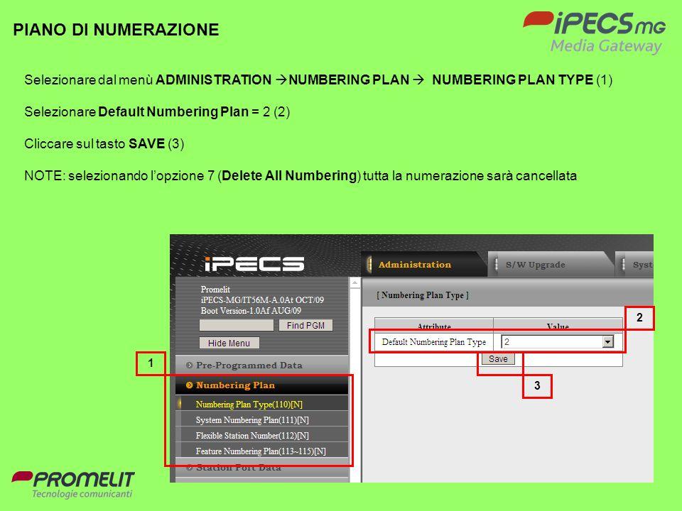 17 PIANO DI NUMERAZIONE Selezionare dal menù ADMINISTRATION NUMBERING PLAN NUMBERING PLAN TYPE (1) Selezionare Default Numbering Plan = 2 (2) Cliccare