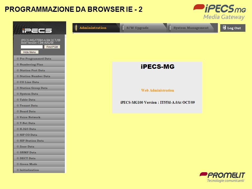 96 Limpostazione su IPECS MG si trova nel menù: Administration System Data PPTP Attribute PPTP Server Information Limpostazione sul PC è una connessione di rete che permetta connessioni in ingresso.