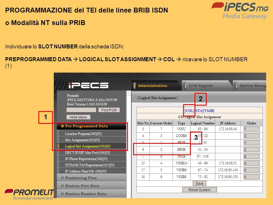 56 1 3 2 Individuare lo SLOT NUMBER della scheda ISDN: PREPROGRAMMED DATA LOGICAL SLOT ASSIGNMENT COL ricavare lo SLOT NUMBER (1) PROGRAMMAZIONE del T