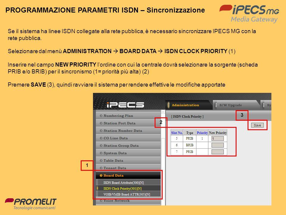 59 PROGRAMMAZIONE PARAMETRI ISDN – Sincronizzazione Se il sistema ha linee ISDN collegate alla rete pubblica, è necessario sincronizzare IPECS MG con