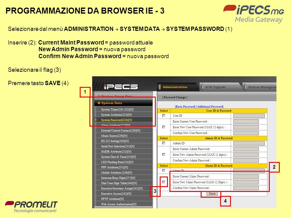 6 4 2 1 3 Selezionare dal menù ADMINISTRATION SYSTEM DATA SYSTEM PASSWORD (1) Inserire (2): Current Maint Password = password attuale New Admin Passwo