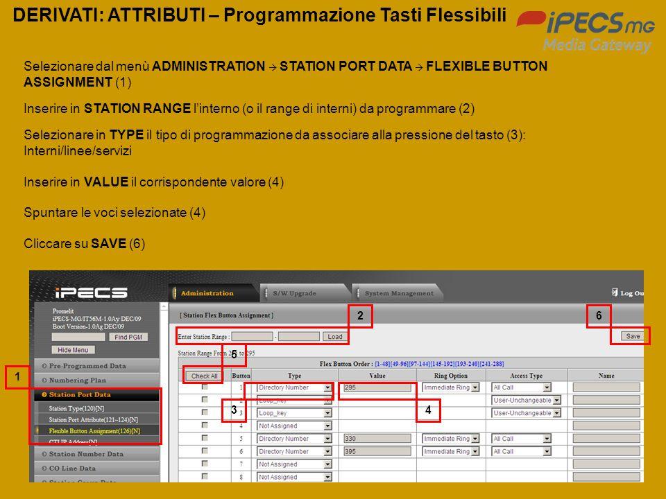 70 DERIVATI: ATTRIBUTI – Programmazione Tasti Flessibili Selezionare dal menù ADMINISTRATION STATION PORT DATA FLEXIBLE BUTTON ASSIGNMENT (1) Inserire