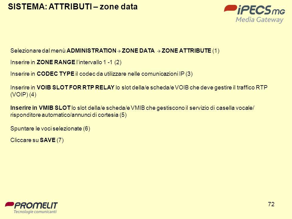 72 SISTEMA: ATTRIBUTI – zone data Selezionare dal menù ADMINISTRATION ZONE DATA ZONE ATTRIBUTE (1) Inserire in ZONE RANGE lintervallo 1 -1 (2) Inserir