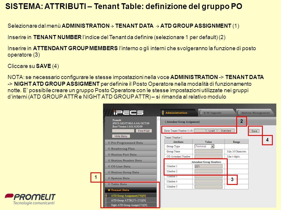 74 SISTEMA: ATTRIBUTI – Tenant Table: definizione del gruppo PO Selezionare dal menù ADMINISTRATION TENANT DATA ATD GROUP ASSIGNMENT (1) Inserire in T