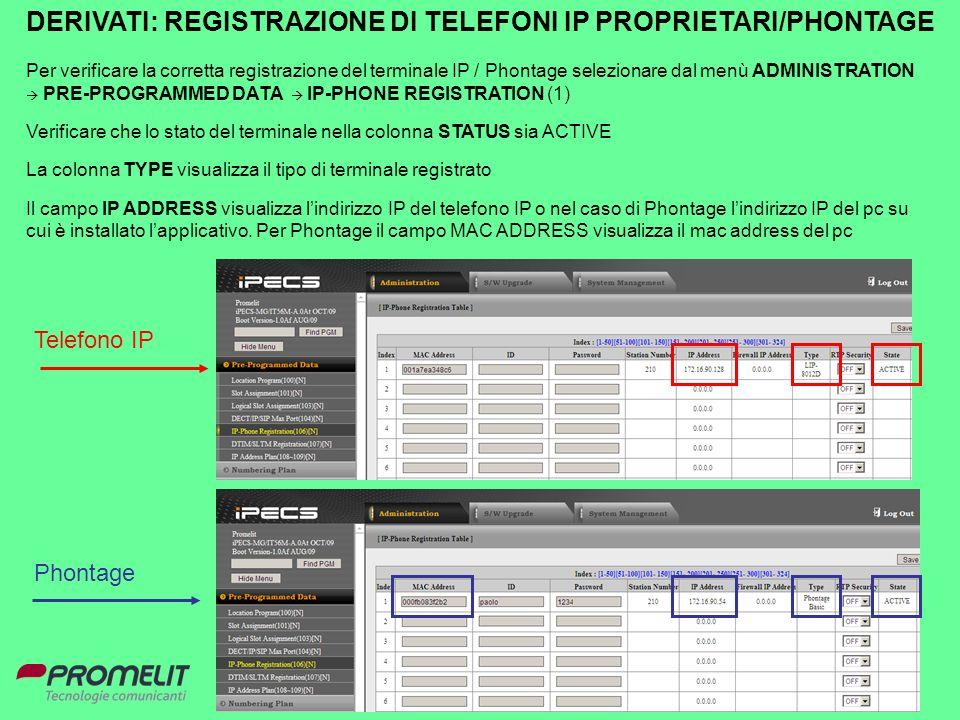 86 DERIVATI: REGISTRAZIONE DI TELEFONI IP PROPRIETARI/PHONTAGE Per verificare la corretta registrazione del terminale IP / Phontage selezionare dal me