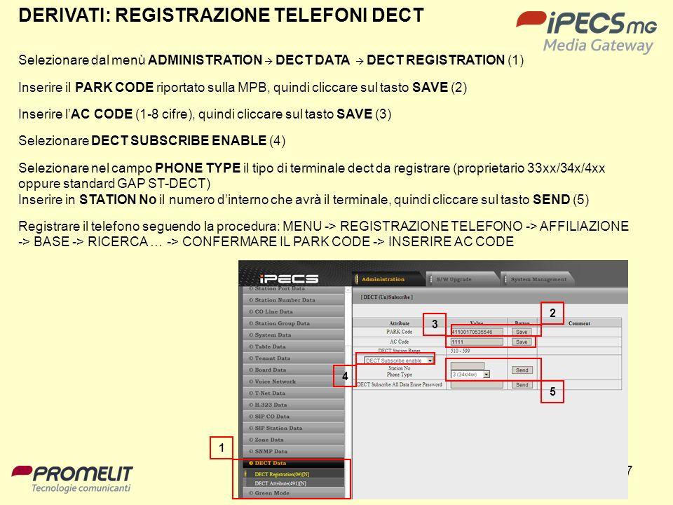 87 DERIVATI: REGISTRAZIONE TELEFONI DECT Selezionare dal menù ADMINISTRATION DECT DATA DECT REGISTRATION (1) Inserire il PARK CODE riportato sulla MPB