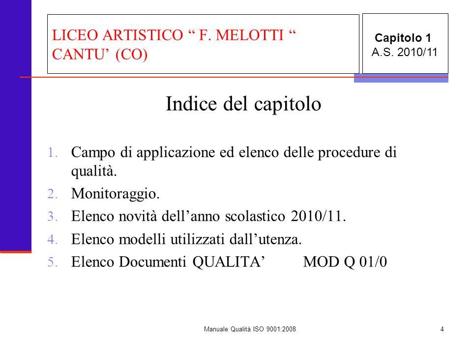 Manuale Qualità ISO 9001:20084 Indice del capitolo 1. Campo di applicazione ed elenco delle procedure di qualità. 2. Monitoraggio. 3. Elenco novità de