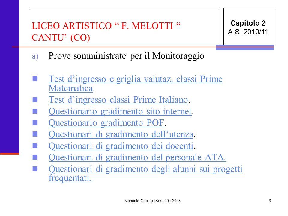 Manuale Qualità ISO 9001:20087 LICEO ARTISTICO F.