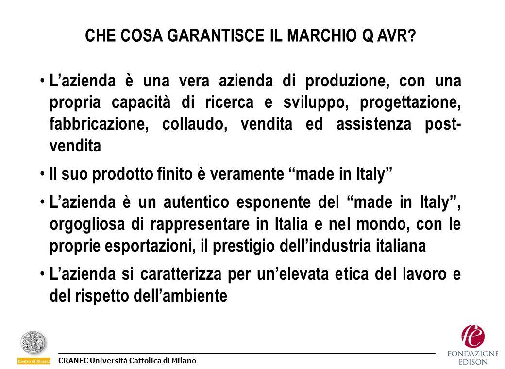 CRANEC Università Cattolica di Milano CHE COSA GARANTISCE IL MARCHIO Q AVR? Lazienda è una vera azienda di produzione, con una propria capacità di ric