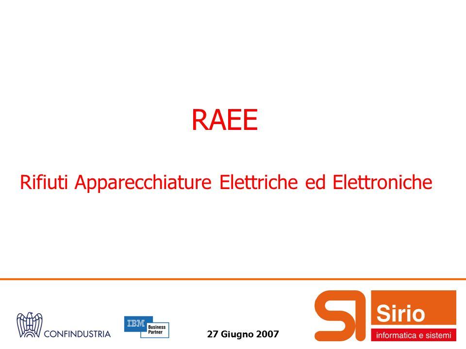 27 Giugno 2007 RAEE Rifiuti Apparecchiature Elettriche ed Elettroniche