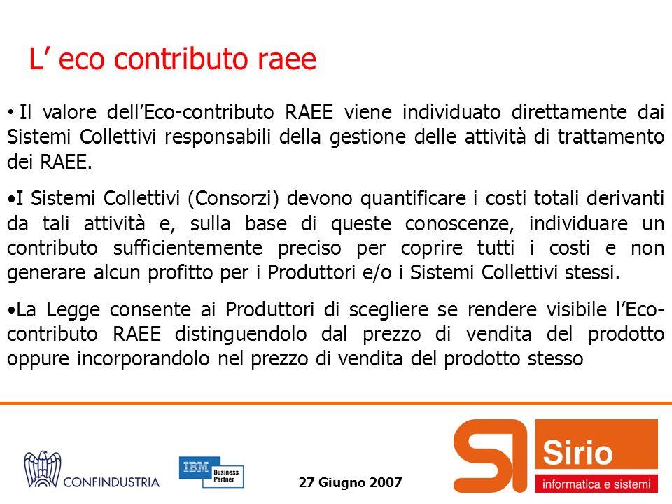 27 Giugno 2007 L eco contributo raee Il valore dellEco-contributo RAEE viene individuato direttamente dai Sistemi Collettivi responsabili della gestione delle attività di trattamento dei RAEE.