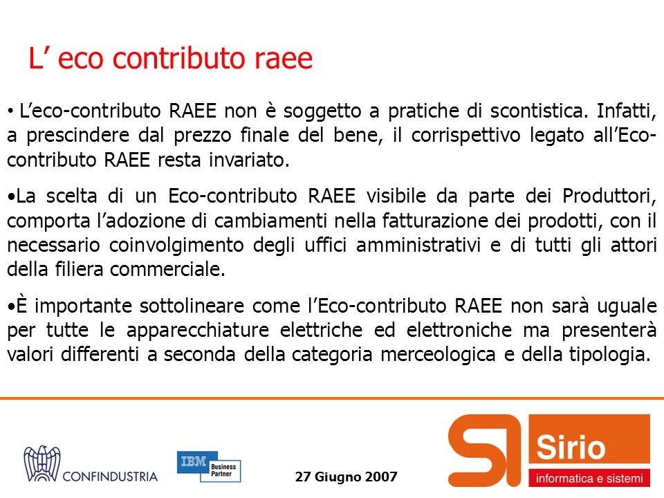 27 Giugno 2007 L eco contributo raee Leco-contributo RAEE non è soggetto a pratiche di scontistica. Infatti, a prescindere dal prezzo finale del bene,