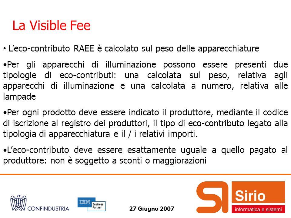 27 Giugno 2007 La Visible Fee Leco-contributo RAEE è calcolato sul peso delle apparecchiature Per gli apparecchi di illuminazione possono essere prese